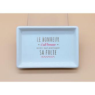 Vide poche imprimé en céramique blanc Bonheur 15.2x10.2x2.6cm