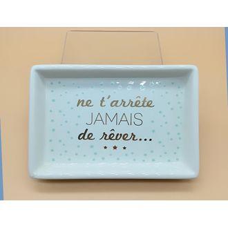 Vide poche imprimé en céramique blanc Rêver 15.2x10.2x2.6cm