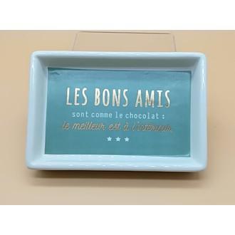 Vide poche imprimé en céramique vert Amis 15.2x10.2x2.6cm
