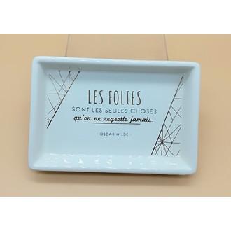 Vide poche imprimé en céramique blanc Folie 15.2x10.2x2.6cm