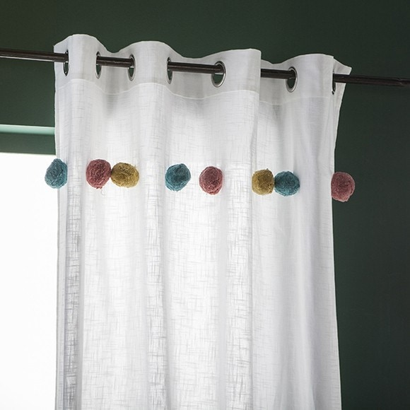 ZODIO  Rideau en coton avec gros pompons multicolor blanc Fakim