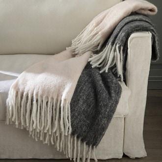 ZODIO- Plaid effet mohair à franges gris Rosine 125x150cm