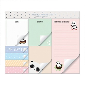 Lot de 8 blocs notes Panda kawaii