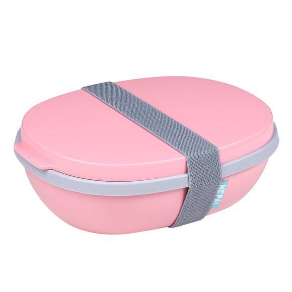 Contenitore per il pranzo rosa a doppio scomparto da 1425 ml