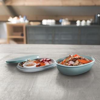Boîte à déjeuner bleu double compartiment de 1425ml
