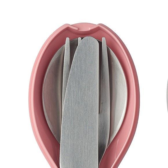 Set di 3 posate grigio, rosa e bianco 19,5 x 5,1 x 2,3cm