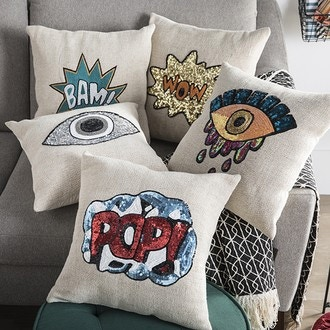 ZODIO- Coussin toile sequins silver eye 40x40