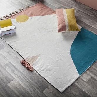 ZODIO- Tapis tissage rose-écru-paon Paper Cut 120x180cm