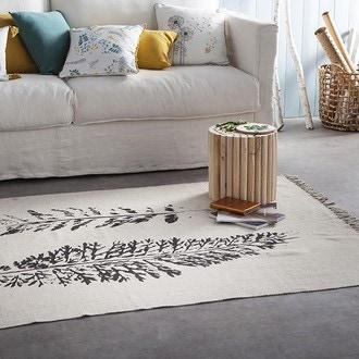 ZODIO- Tapis tisse impression feuilles noires 120x180cm