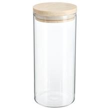 Achat en ligne Bocal de rangement en verre transparent et en bois 1,3L