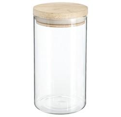 Achat en ligne Bocal rangement en verre transparent et bois de 1L 9,7x18cm