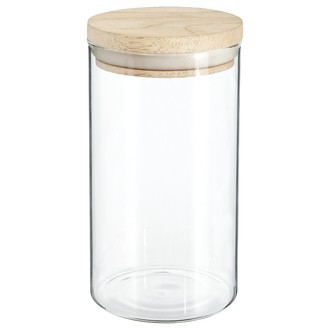 Bocal de rangement en verre transparent et en bois de 1L - 9,7x18cm