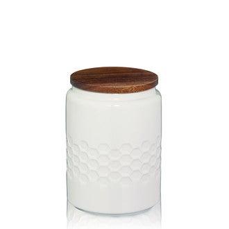Bocal Mellis blanc crème en céramique avec couvercle en bois 0,8L