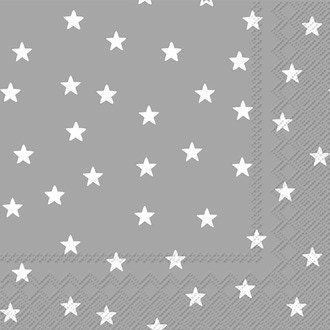 20 serviettes 25x25 cm little stars silver