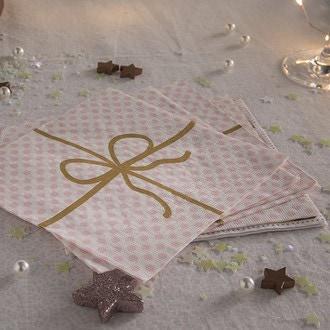 20 serviettes 33x33 cm cadeau deluxe dots rosé