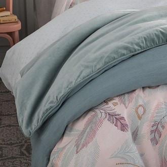 Housse pour édredon 140x200cm en coton verte sauge avec passepoil
