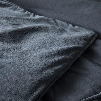 Housse pour édredon 140x200cm bleu pétrole avec passepoil