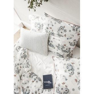ESSIX - Taie d'oreiller carrée en percale imprimée Folk Melody 65x65cm