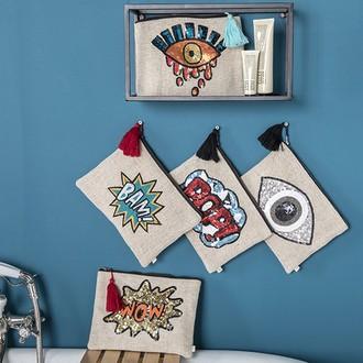 Zodio - trousse de toilette brodée de sequins pop