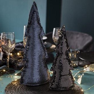 Petit sapin décoratif paillettes sequin noir gold