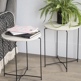 Table plateau bois et structure métal noir agneta d41xh47,5cm