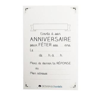 8 cartes d'invitations et enveloppes - 13x8,5cm