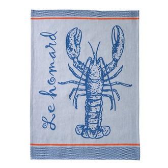 COUCKE - Torchon homard en coton jaquard bleu 50x75cm