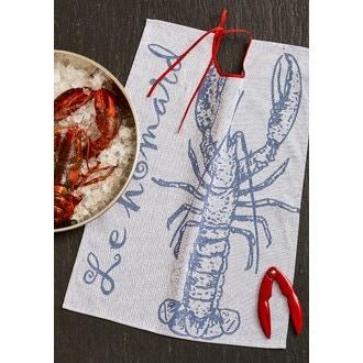 COUCKE - Bavoir homard bleu en coton jaquard