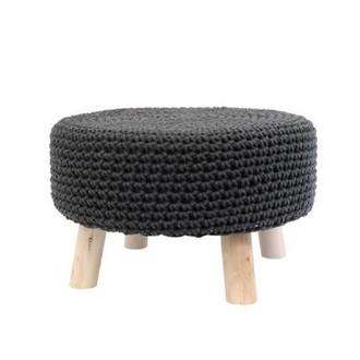 Pouf assise en crochet anthracite et pieds bois brut d48xh30cm
