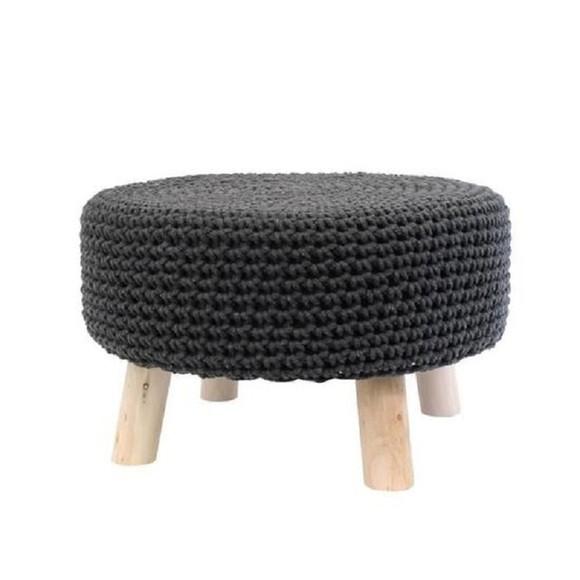 Pouf assise en crochet anthracite et pieds bois brut 48x30cm
