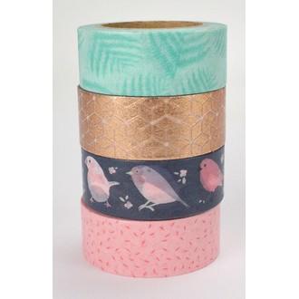 Lot de 4 washi tape or et rose oiseau