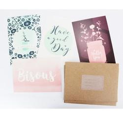 Achat en ligne Lot de 4 enveloppes et cartes à fleurs pastel