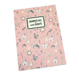Carnet à motif arc en ciel - grandes idées et petits secrets - rose 15x21cm 140 pages