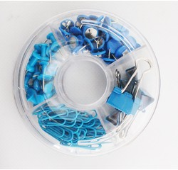 Achat en ligne kit de bureaux en anneaux punaises, trombones attaches bleu