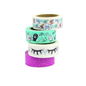 Lot de 4 washi tape imprimé chat et lama bleu/rose