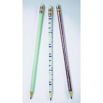 Lot de 3 crayons à papier géométrique scandinave blanc/bleu