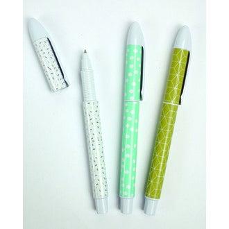 Lot de 3 stylos gel géométrique