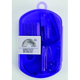 Mini kit de bureau violet agrafeuse, perforatrice et scotch