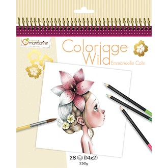 Avenue Mandarine - Carnet de 14 coloriages Wild Collector n°2 ,20x25cm, 250g