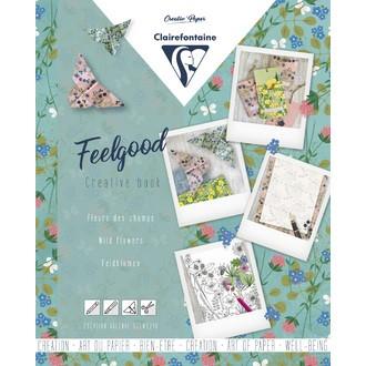 CLAIREFONTAINE - Carnet créatif feelgood,Fleurs sauvages, 26x21cm
