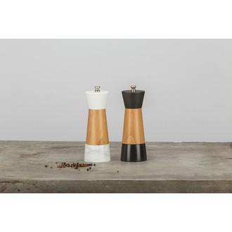 OGO - Moulin à sel en marbre noir et bois naturel 17cm