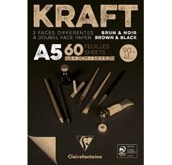 Achat en ligne Bloc A5 60 feuilles kraft Brun & Noir Vergé Encollé