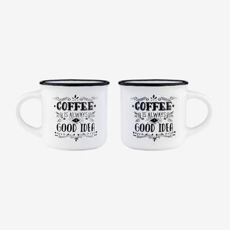Coffret 2 tasses à expresso - coffee is always good idea
