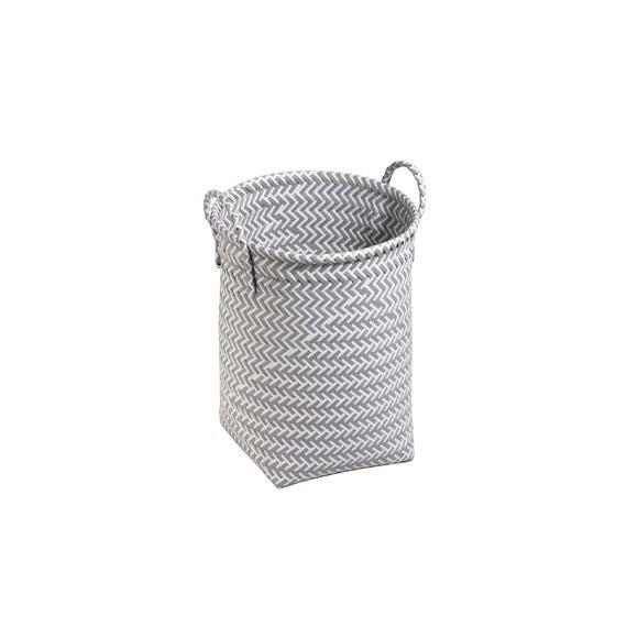 acquista online  Portabiancheria intrecciato grigio e bianco 30x40cm