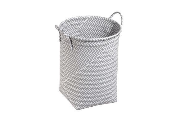 Achat en ligne Panier à linge ruban tressé pp gris/blanc 35x45cm