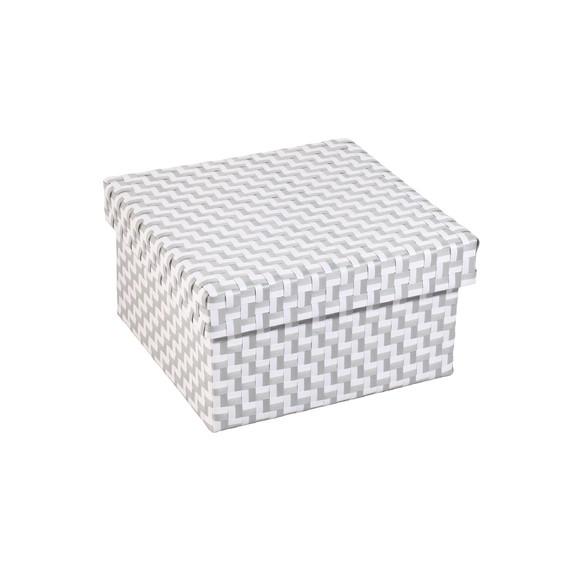 acquista online Scatola nastro intrecciato grigio e bianco 33x33x18cm
