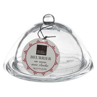 Beurrier en verre avec sa cloche D10 cm