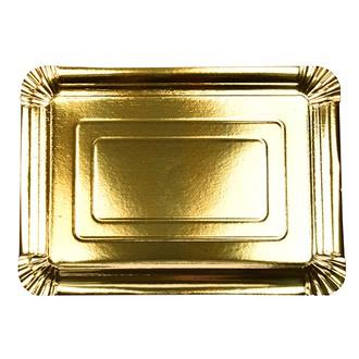 10 assiettes rectangulaire en carton or 24x33 cm