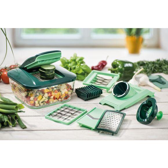 Mandolina Nicer Dicer Chef composta da 15 pezzi, verde