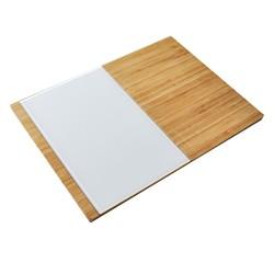 compra en línea Tabla de cortar y presentar quesos madera y vidrio (38 x 28 cm)